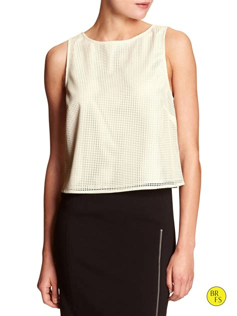 grid pattern top banana republic factory grid pattern crop top in white
