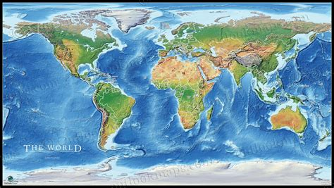 map of the world earth physical earth map poster