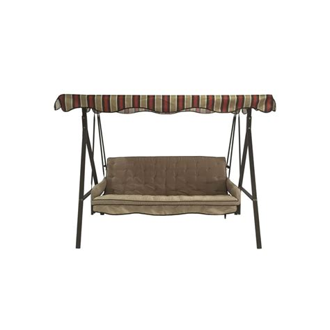 lowes swings shop garden treasures 3 seat steel casual porch swing at