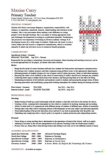 two page cv example primary teacher cv sample teaching classroom