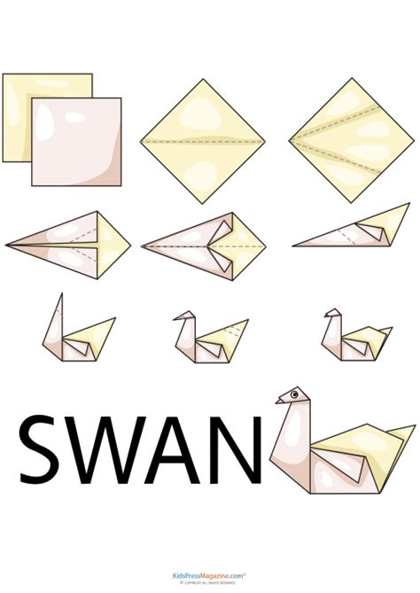 How To Make A Paper Swan Out Of Triangles - easy origami swan kidspressmagazine