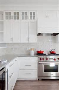 Red Kitchen With White Cabinets white and gray kitchen with red accents transitional kitchen