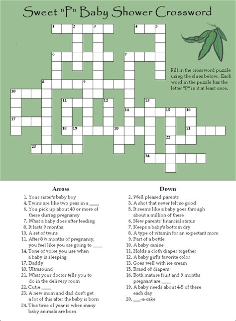 Baby Shower Crossword by A And Free Baby Shower Crossword Puzzle