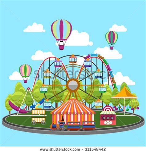 theme park vector amusement park concept cartoon illustration amusement