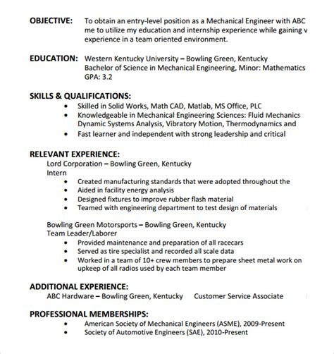 Resume Objective Entry Level by 9 Entry Level Resume Templates To Sle Templates
