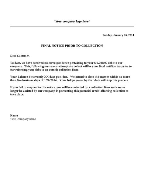collections notice template collection letter template notice hashdoc