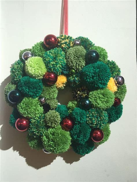 pompom wreaths images  pinterest christmas wreaths holiday burlap wreath