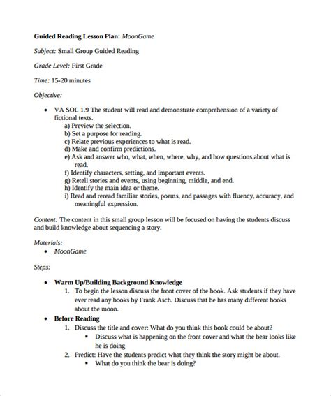 Sample Guided Reading Lesson Plan Template ? 9  Free