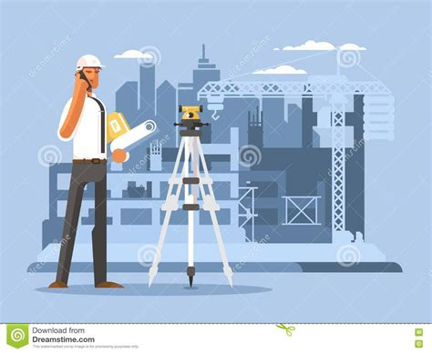 design engineer job from home foreman on construction flat design stock vector image