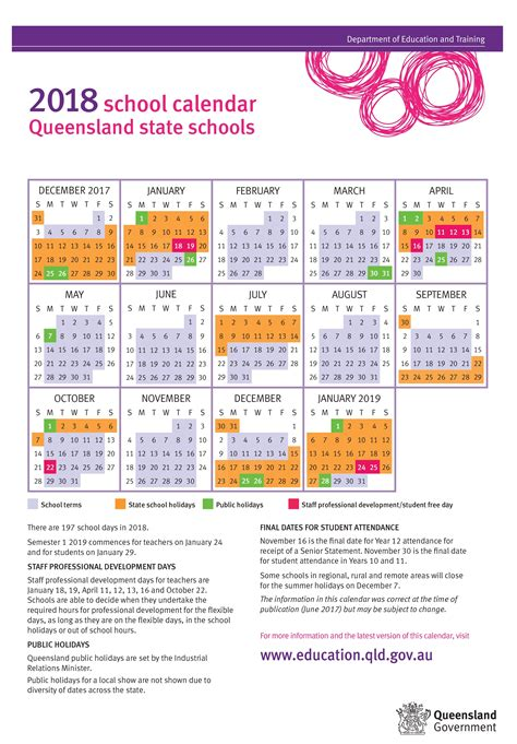school calendar queensland state schools calendar template printable
