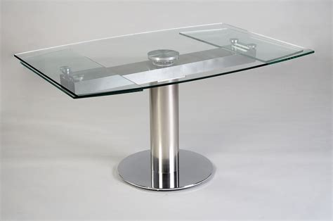 table contemporaine en verre avec rallonge