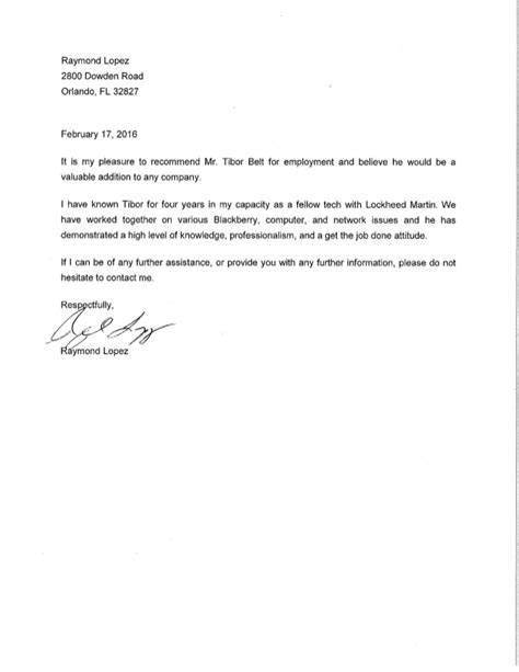 Recommendation Letter For From Coworker Letter Of Recommendation Coworker