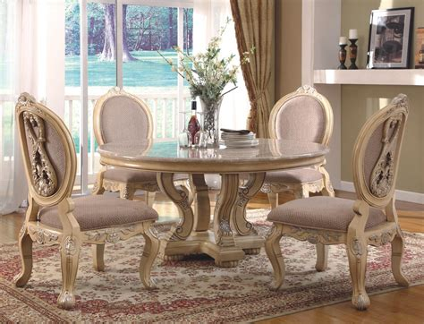 round dining room table sets white dining furnishings traditional antique white