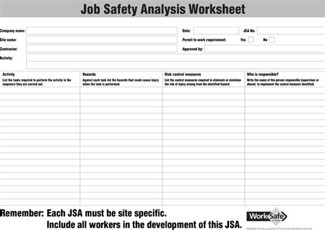 Job Safety Analysis Form Beneficialholdings Info Safety Analysis Template