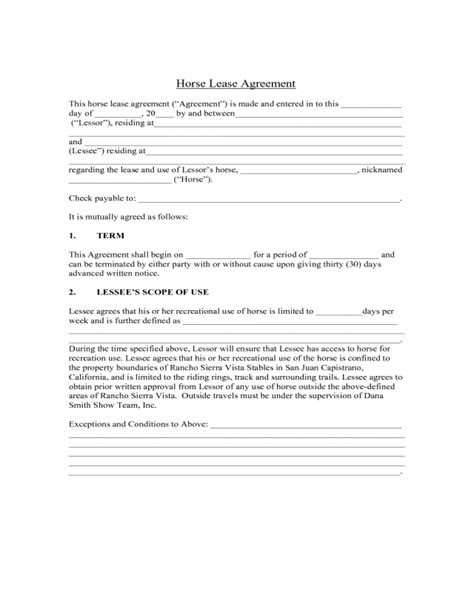 printable horse lease agreement sle horse lease agreement edit fill sign online