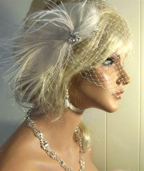 Wedding Hair Clip Veil by Wedding Fascinator Bridal Veil Ivory Peacock Hair Clip