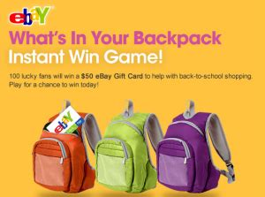 Win A Ebay Gift Card - ebay quot what s in your backpack quot instant win game win a 50 ebay gift card