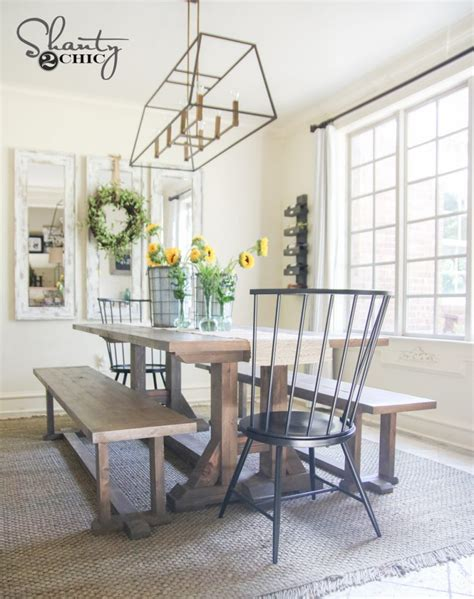 farmhouse chic dining table diy pottery barn inspired dining table for 100 shanty 2