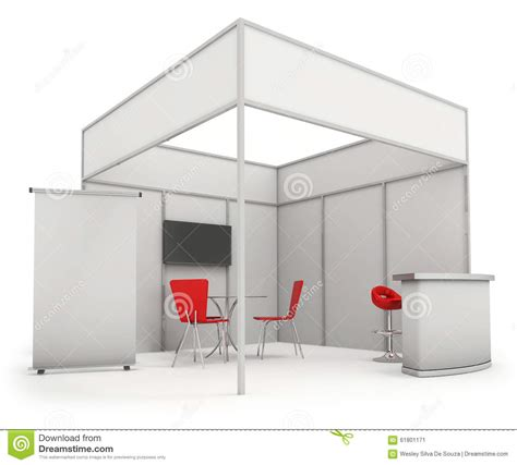 3d booth design template trade exhibition stand and blank roll banner 3d render