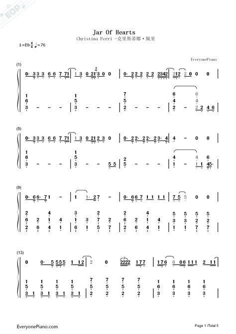Jar of Hearts-Christina Perri Numbered Musical Notation