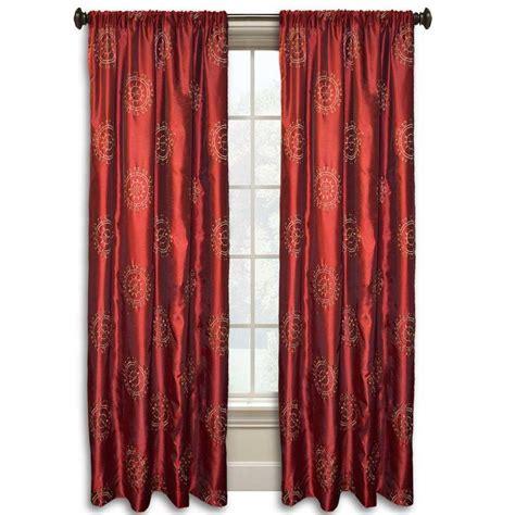 suzani curtain eva suzani 84 in l red gold faux silk rod pocket curtain