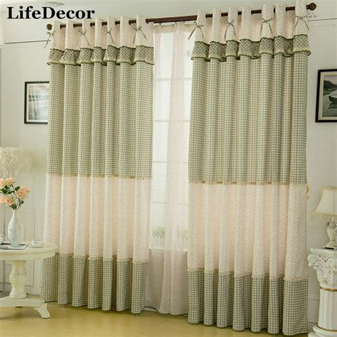 Aliexpress Com Buy Fairies Window Curtains Rustic Style Plaid Curtains For Living Room
