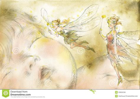flying color baby flying beside baby with water color royalty free