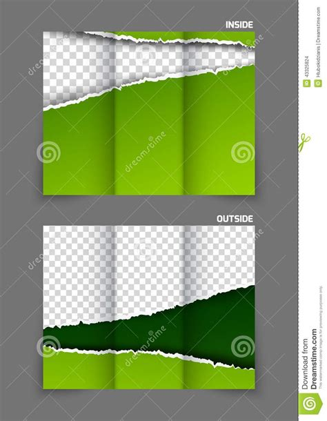Three Fold Paper - torn paper tri fold brochure stock vector image 43325824