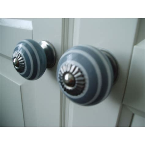 Grey Drawer Knobs by Stripey Drawer Knob Shabby Chic Door Knobs In Grey With