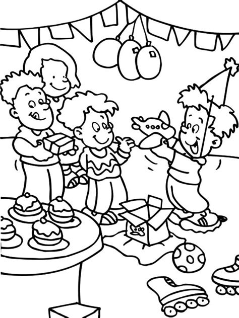 a family celebrate birthday boy party coloring pages a