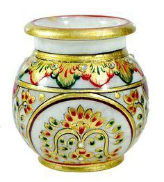 home decor handicrafts marble vases gold painted marble goldleaf painting ornamental flower vase