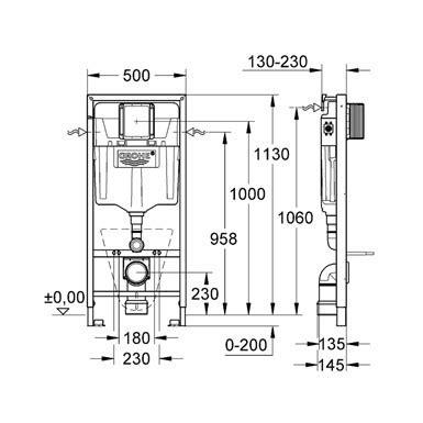 Inbouwtoilet Afmetingen Grohe grohe rapid sl wc element inbouwreservoir 38539001