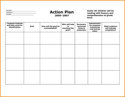 efficient action plan template word sle for school with