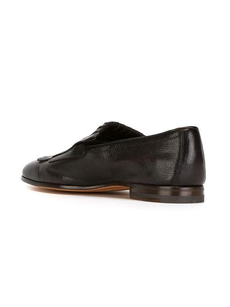 santoni loafer santoni leather loafers in black for lyst