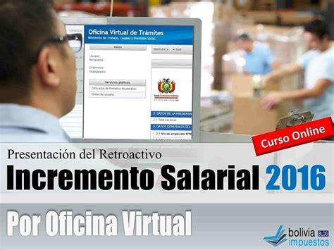 incremento a la masa salarial 2016 bolivia presentaci 243 n incremento salarial por oficina virtual