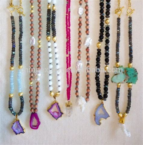 Kalung Square Gem Tassel Necklace interchangeable mala tassel necklace with