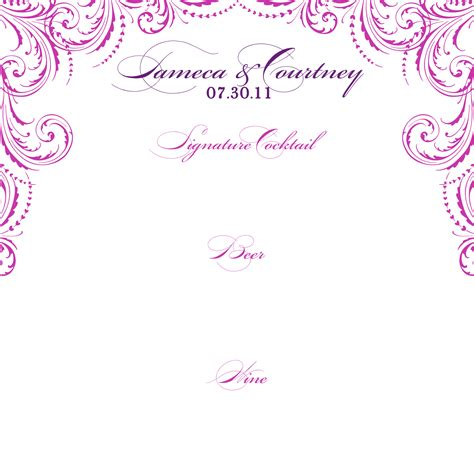 wedding drink menu template signatures by wedding menu and program for tameca