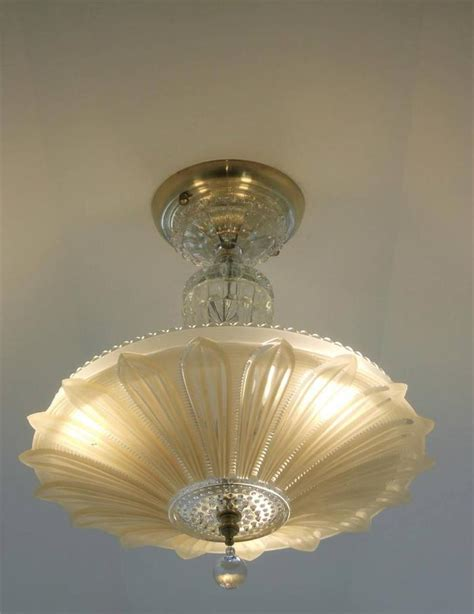 Vintage Ceiling Light Fixtures 30s Vintage Artdeco Ceiling Light Fixture Chandelier American Antique L Shade Ebay