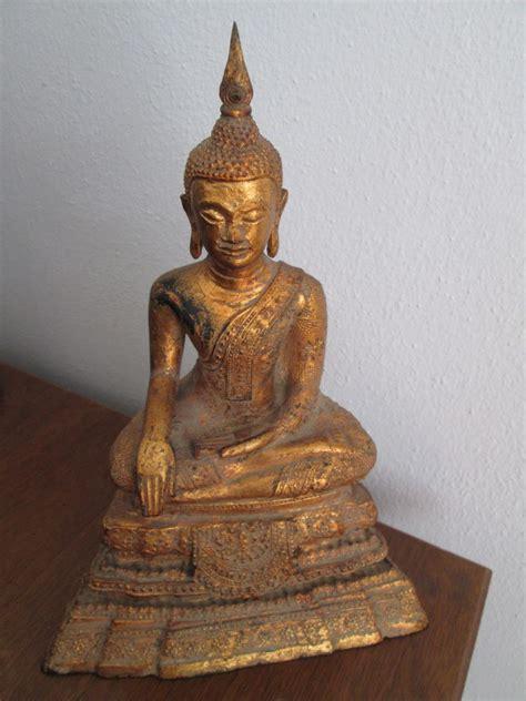 Handmade Statues - thai bronz seated buddha handmade mix material statues