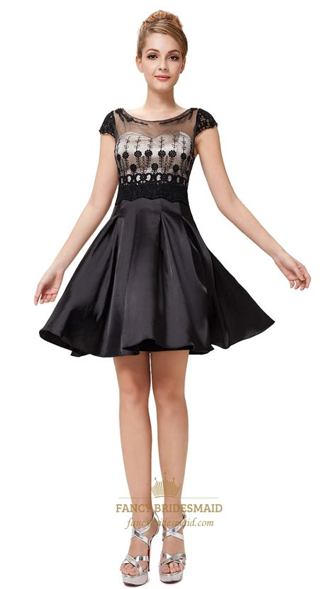 dress design for js prom black cocktail dresses with sheer sleeves simple black and