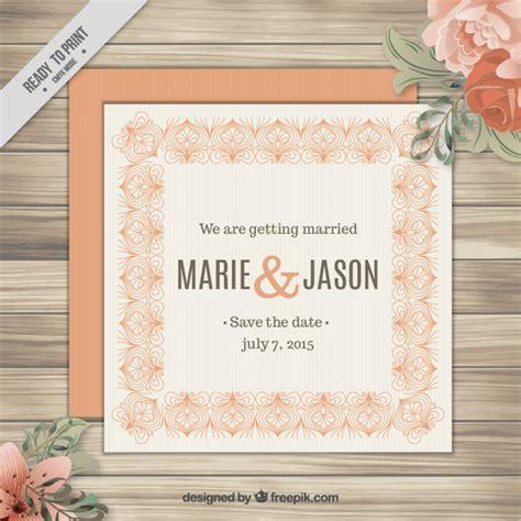 Kostenlose Vorlage Einladung Hochzeit Orange Vintage Hochzeit Einladung Mit Ornamenten Der Kostenlosen Vektor