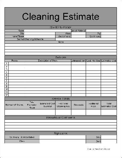 Cleaning Estimate Template Free by Cleaning Estimate Template Solomei