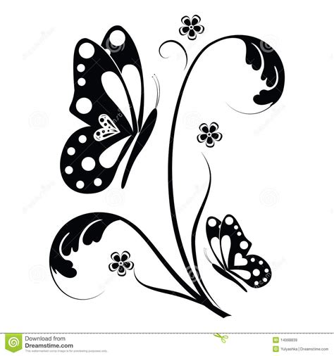 Butterfly Wall Sticker butterfly and floral scrolls stock illustration image