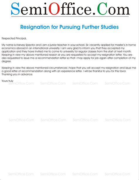 Letter For resignation letter for further studies