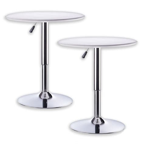 Gas Lift Bar Table 2x Adjustable Bar Table W Gas Lift In White Buy Bar Tables Sets