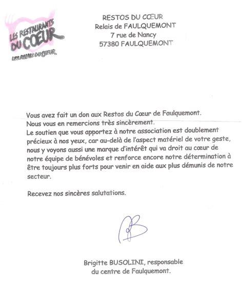 Modèle De Lettre De Remerciement D Une Association remerciement don association