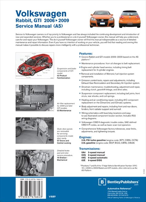back cover volkswagen rabbit gti a5 repair manual 2006 2009 bentley publishers repair