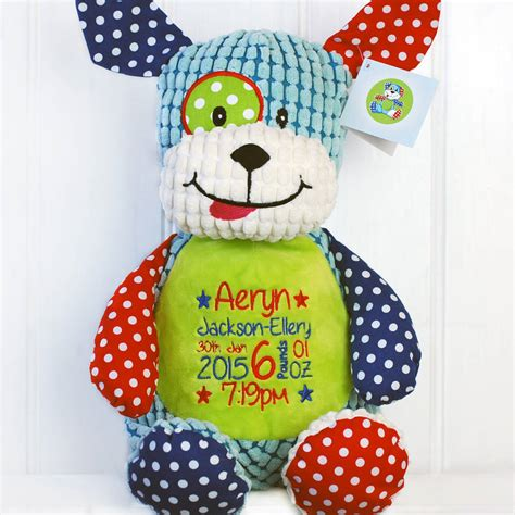 personalised new baby harlequin soft toy by simply colors