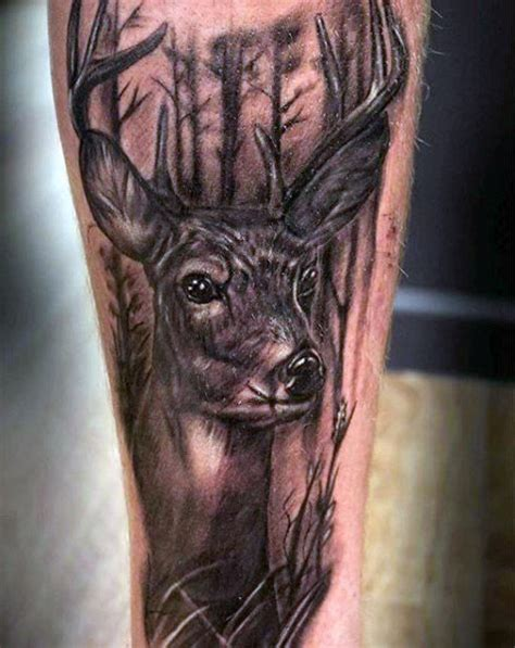 deer tattoo fail mens deer in the woods tattoo design on forearm tatoos