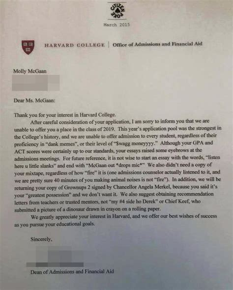 College Letter Rejection Wag Moneyyyy Harvard College Rejection Letter Is